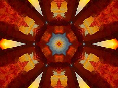 Tangerine Sunset Crystal Mandala Art Print