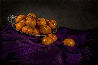 Tangerines In A Shell Platter Art Print by Leah McDaniel