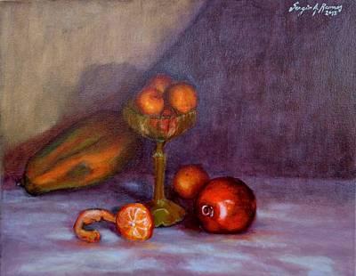 Sergio Ramos Wall Art - Painting - Tangerines Papaya And Pomegranate by Sergio A Ramos