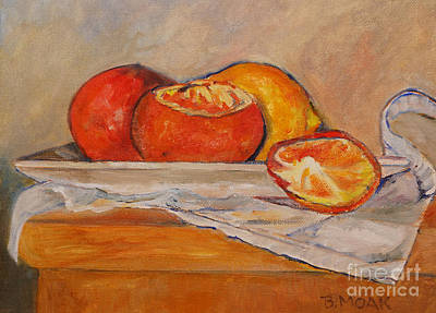 Tangerines With Lemon Art Print by Barbara Moak