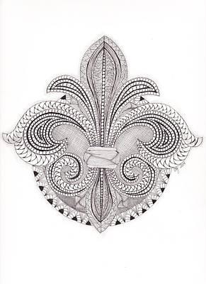 Fleur De Lis Drawing - Tangle Fleur De Lis by Christianne Gerstner
