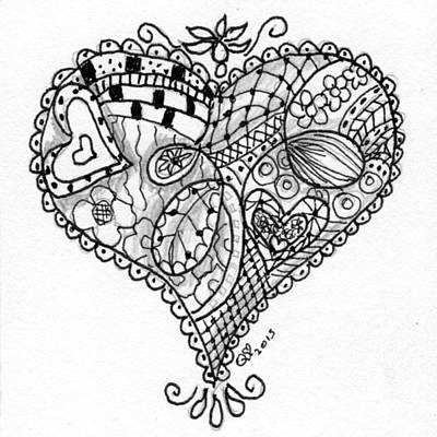 Drawing - Tangle Heart 4 by Quwatha Valentine