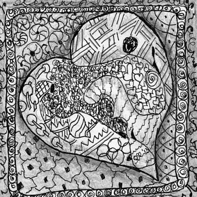 Drawing - Tangle Heart 5 by Quwatha Valentine