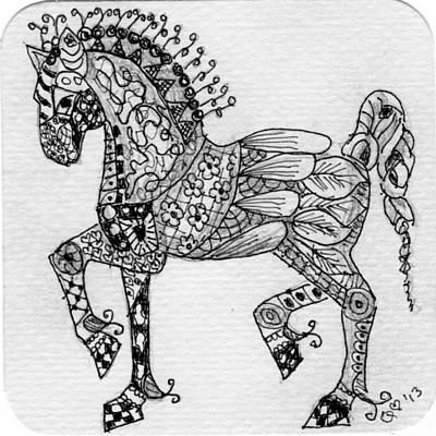 Drawing - Tangle Horse 1 by Quwatha Valentine