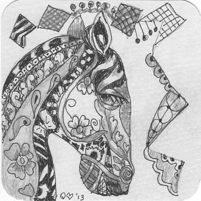 Drawing - Tangle Horse 3 by Quwatha Valentine