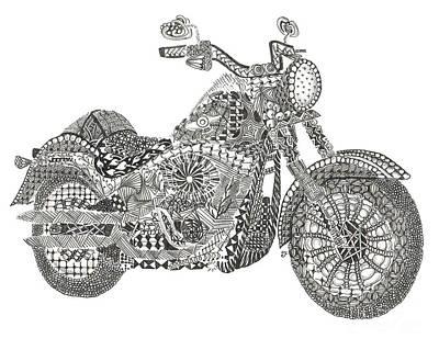 Tangled Harley Davidson Fatboy Art Print