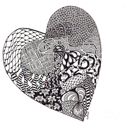Drawing - Tangled Heart by Claire Bull