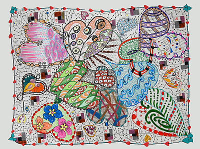 Drawing - Tangled Hearts by Quwatha Valentine