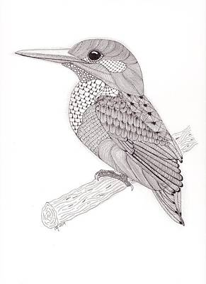 Kingfisher Drawing - Tangled Kingfisher by Christianne Gerstner