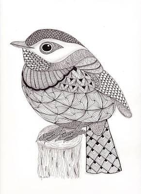 Flycatcher Drawing - Tangled Little Flycatcher by Christianne Gerstner