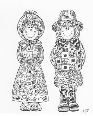 Drawing - Tangled Pilgrims 1 by Quwatha Valentine