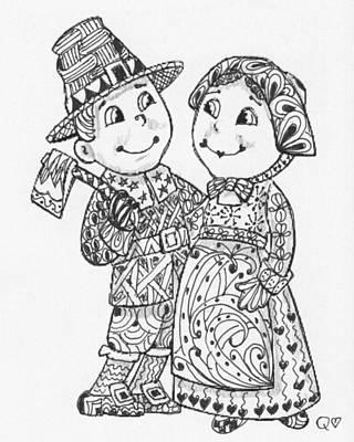 Drawing - Tangled Pilgrims 2 by Quwatha Valentine