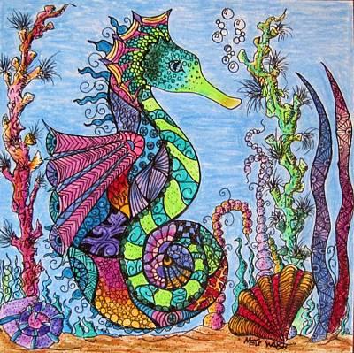 Zen Tangle Drawing - Tangled Seahorse by Megan Walsh