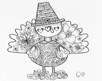 Drawing - Tangled Turkey 2 by Quwatha Valentine