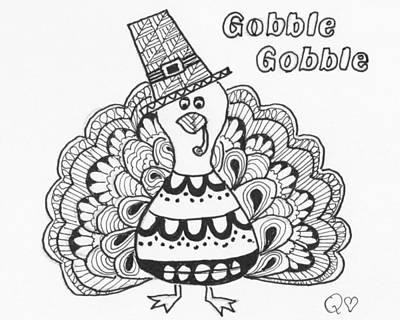Drawing - Tangled Turkey 3 by Quwatha Valentine