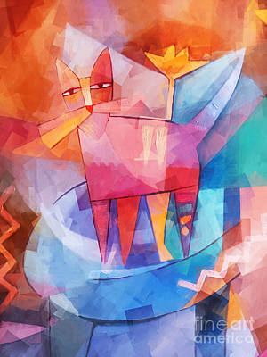 Cats Mixed Media - Tango Cat Cubic by Lutz Baar