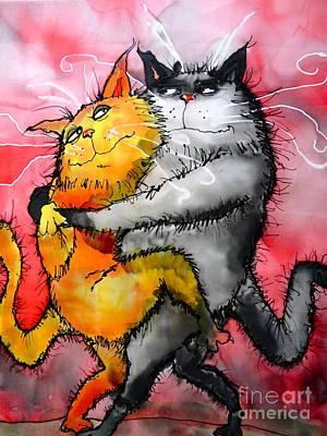 Wall Art - Painting - Tango Cats by Jakki Moore