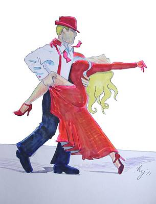 Drawing - Tango Dancers by Mike Jory