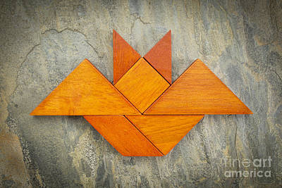 Tangram Bat Abstract Art Print