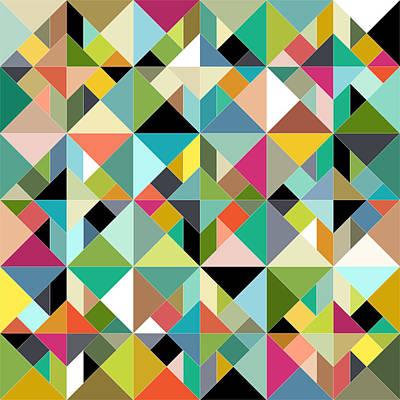 Puzzle Painting - Tangram Geo Multi by Sharon Turner