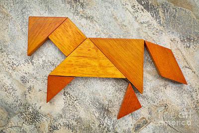 Tangram Horse Abstract Art Print
