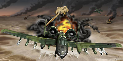 Tank Plinking With The A-10 Art Print by Barry Munden