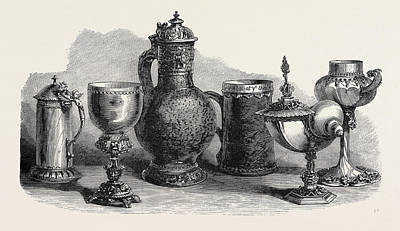 Tankard Drawing - Tankards Goblets And Cups Art Loan Collection South by English School