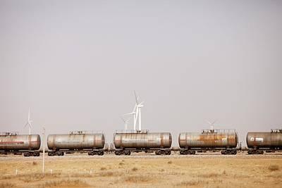 Tanker Cars And Wind Farm Art Print