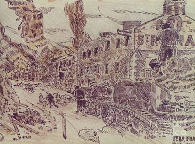 Ww Ii Drawing - Tanks At St Lo France by David Neace