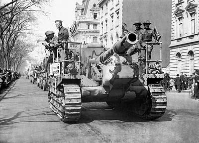 Tanks On Fifth Avenue Art Print by Underwood Archives