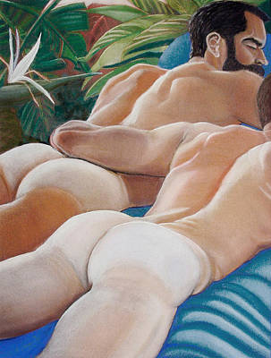 Male Nude Drawing Drawing - Tanlines Tropical by David W Haskins