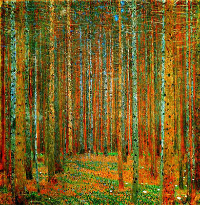 Trees Painting - Tannenwald - Pine Forest by Celestial Images