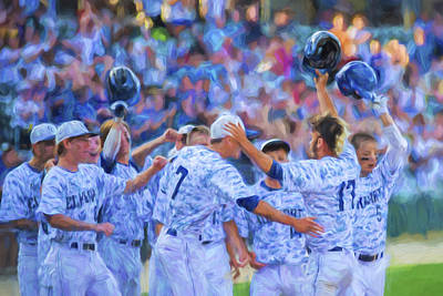 Photograph - Tanner Tully Elkhart Central Blazers Celebrate His Home Run by David Haskett