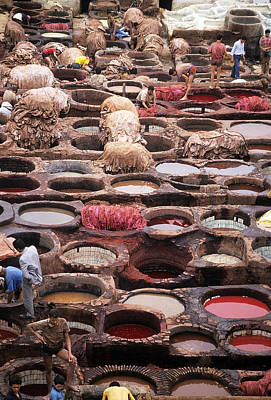 Horse Handbag Photograph - Tanning Vats In Morocco by Carl Purcell