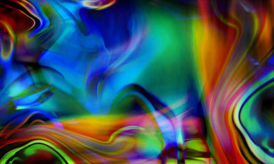 Abstract Landscape Digital Art - Tantalizing Fish Frolic by Kyle Wood