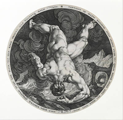 Famous Artists Drawing - Tantalus by Hendrik Goltzius