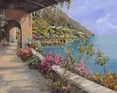 Lake Wall Art - Painting - Tanti Fiori Sulla Terrazza by Guido Borelli
