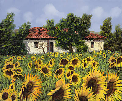 Sunflower Painting - Tanti Girasoli Davanti by Guido Borelli