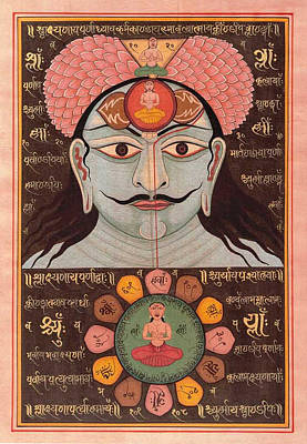 Tantrik Art Painting - Tantra Yantra Miniature Painting Indai Wall Decor Veda Vedic Artwork  by A K Mundhra
