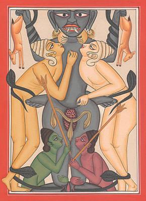 Tantrik Art Painting - Tantra Yantra Tantric Tantrik Miniature Painting Artwork Painting Yaga Yogi India  by A K Mundhra