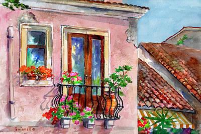 Painting - Taormina Balcony by Kathleen  Gwinnett