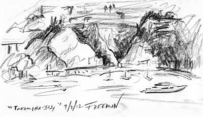 Abstract Seascape Drawing - Taormina Italy by Valerie Freeman
