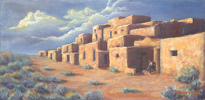 Native American Painting - Taos Afternoon by Jerry McElroy