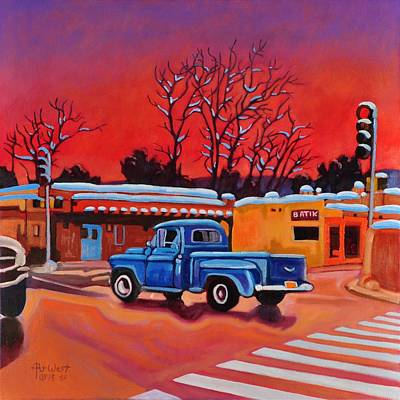 Art Print featuring the painting Taos Blue Truck At Dusk by Art West