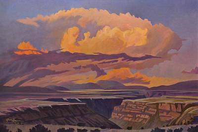 Art Print featuring the painting Taos Gorge - Pastel Sky by Art James West
