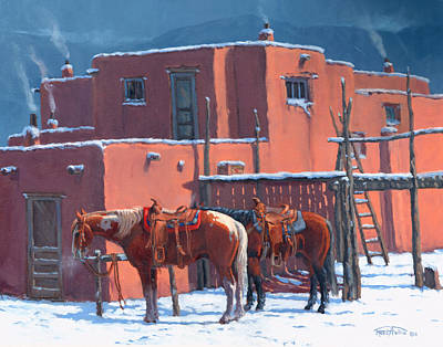 Reservation Painting - Taos Horses by Randy Follis