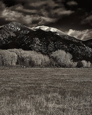 Photograph - Taos In The Fall B_w by Charles Muhle