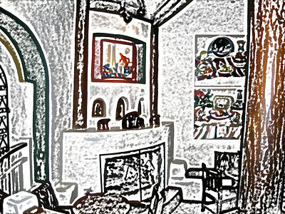 Digital Art - Taos Inn Lobby by Kathleen Stephens