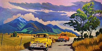Art Print featuring the painting Taos Joy Ride With Yellow And Orange Trucks by Art West