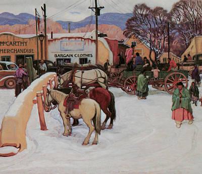 Snow Scene Painting - Taos Plaza Winter by E Martin Hennings